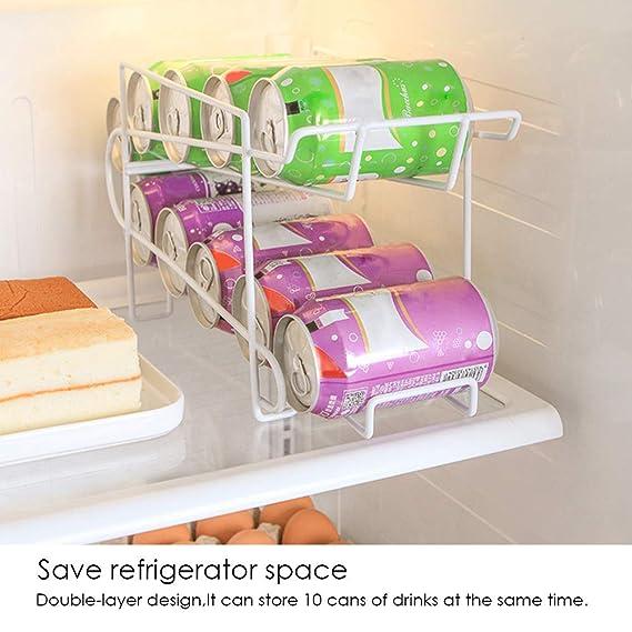 Yunhigh Dispensador de latas Bebidas para refrigerador 2 Niveles Pop refresco Lata Soporte Organizador la Rejilla Estante Hierro Resistente Cocina Armario ...
