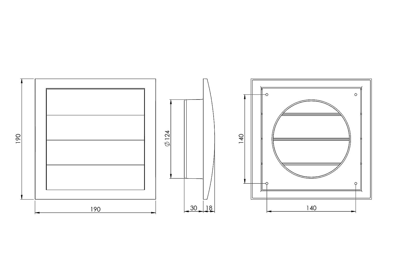 190x190mm 125mm L/üftungsgitter mit beweglichen Lamellen Jalousie Abschlussgitter R/ückstauklappe Verschlussklappe /Ø 125mm Wei/ß