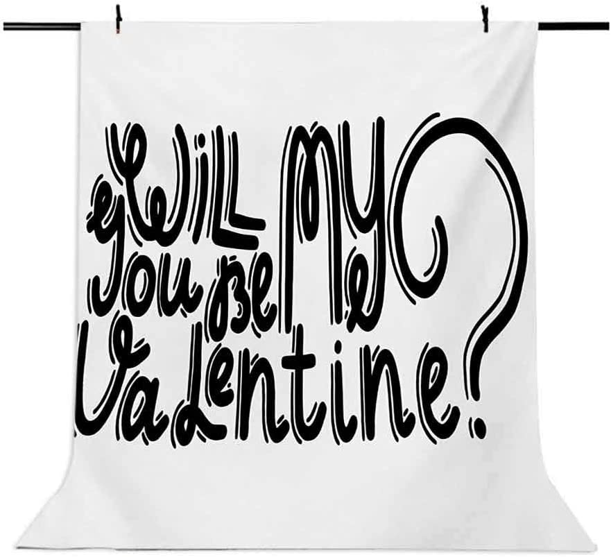 Quote 10x15 FT Photo Backdrops,Be My Valentine Theme Romantic Message Monochrome Valentines Day Script Design Background for Party Home Decor Outdoorsy Theme Vinyl Shoot Props Black and White