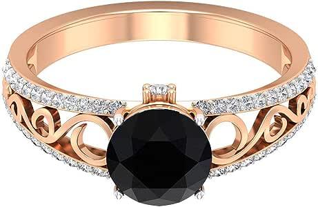 1.25 Ct Antique Black Diamond Wedding Ring, 0.30Ct SGL Certified Diamond Bridal Ring, Unique Filigree Engraved Gold Ring, Classic Women Statement Ring