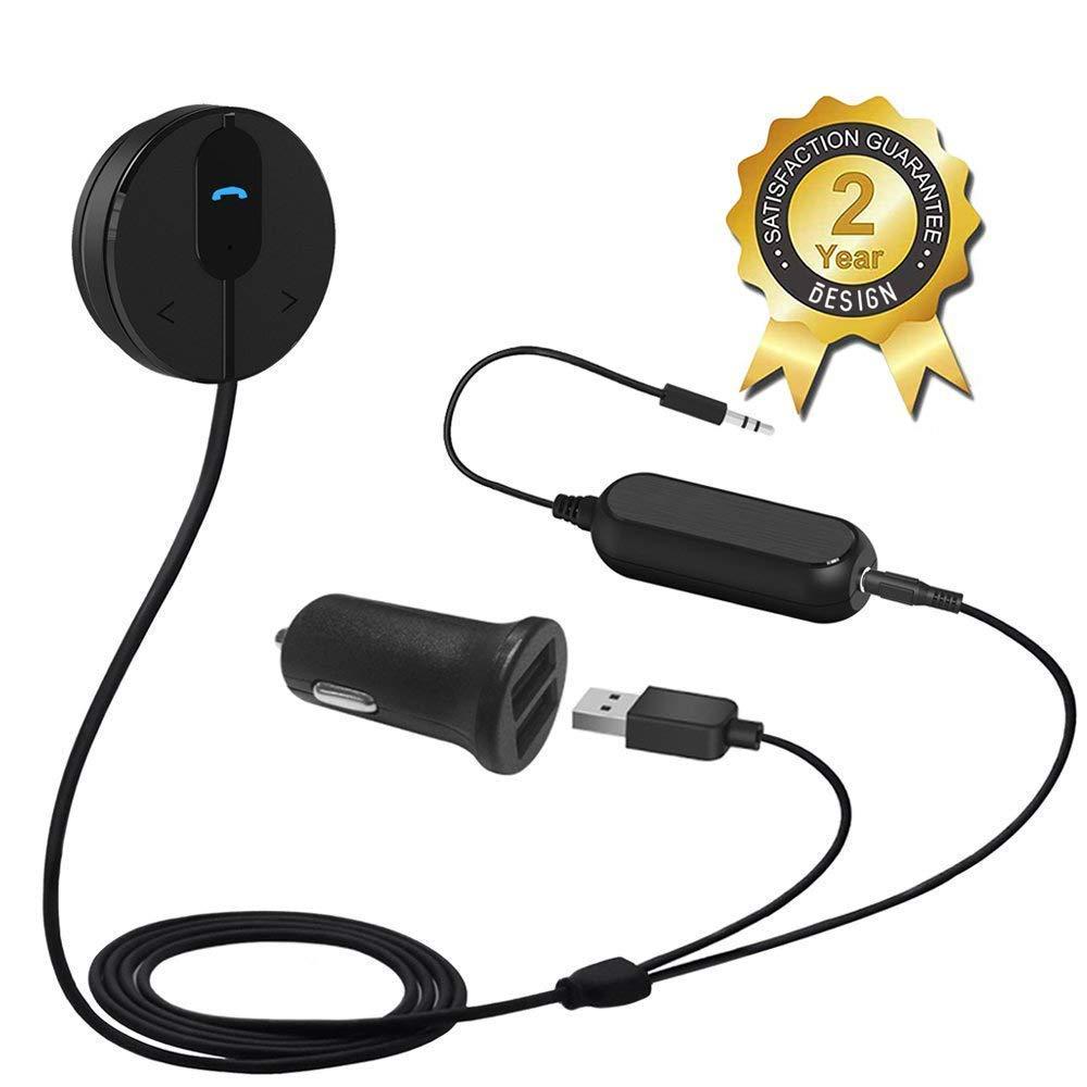 Besign BK01 Receptor Bluetooth Kit de Coche Manos Libres, Adaptador Bluetooth con Conector de Entrada Auxiliar (3.5 mm), Base Magné tica y Aislador de Reducció n de Ruido para Sistema de Audio de Coche