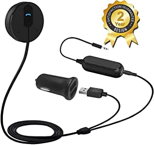 BESIGN BK01 Bluetooth Car Kit, Wireless Receiver for Handsfree Talking and Music Streaming with Ground Loop Noise Isolator for Car with 3.5mm Aux Port