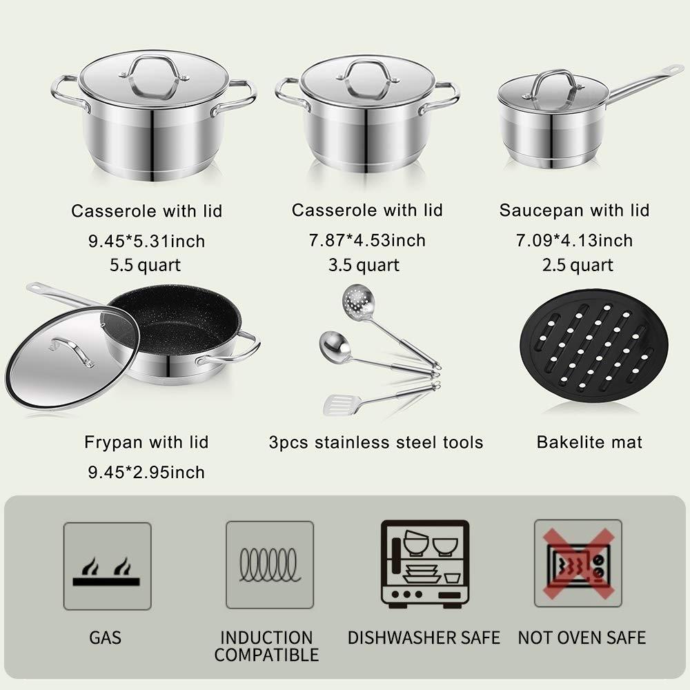 12-Piece 3pcs stainless steel tools Cookware Set Stainless Steel Pots and Pans Sets Frypan Casserole Saucepan Bakelite mat /12 Piece Nonstick Kitchen Cookware Set