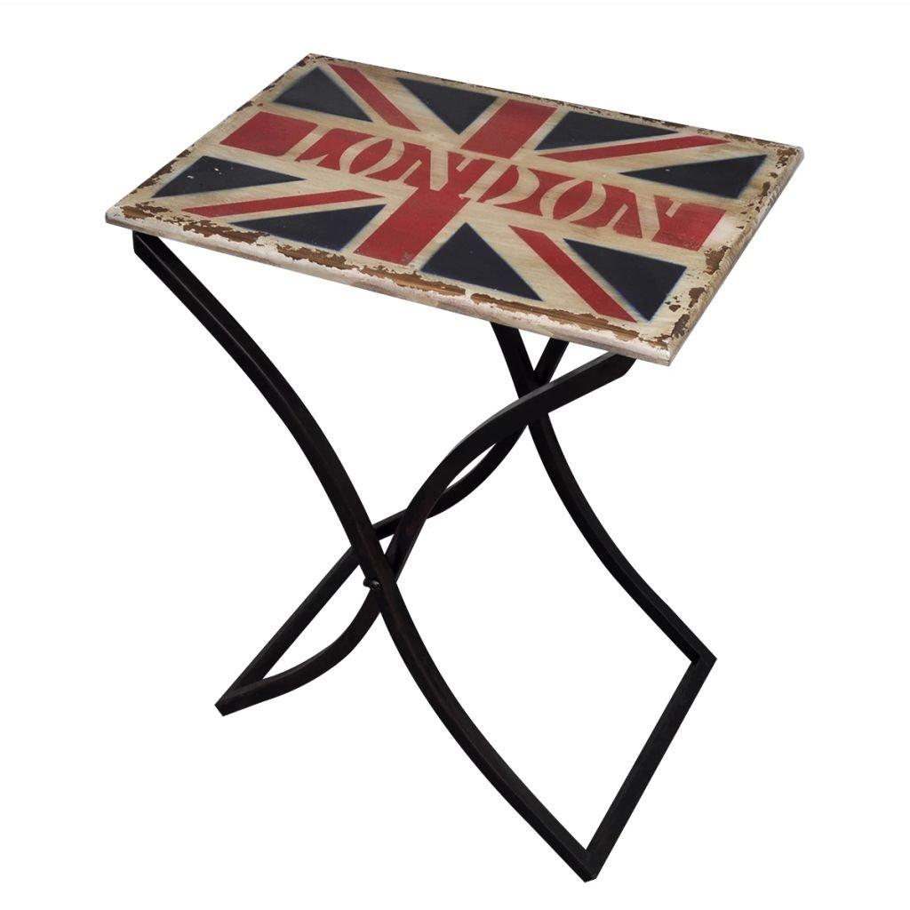 vidaXL Tavolino classico shabby antico in legno per caffè /tavolino laterale Union Jack