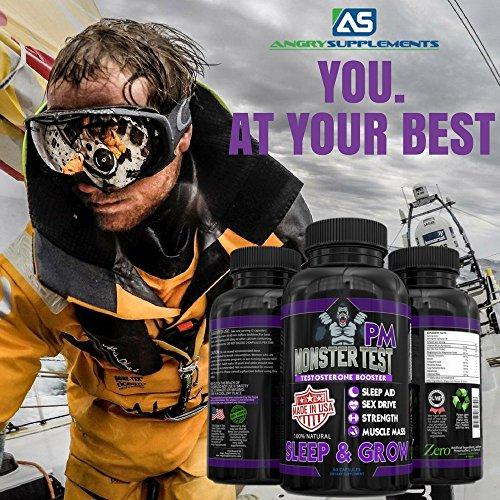 Angry Supplements Monster Test PM Testosterone Booster Plus Sleep Aid Jack T Levels All Natural Formula, Made in USA, Powerful Ingredients Boost Energy & Performance in the Gym and in the Bedroom.