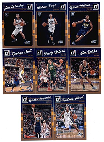2016-17 Donruss Basketball Utah Jazz Team Set of 8 Cards in 4-Pocket Collector's Album which includes: Alec Burks(#49), Rudy Gobert(#50), George Hill(#51), Gordon Hayward(#52), Rodney Hood(#53), Joel Bolomboy(#191), Marcus Paige(#193), Tyrone Wallace(#197) ()