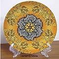 "Yellow Mandala 6"" Ceramic Decorative Plate,Spiritual Symbol of Universe Cosmos Spiral Ornate Petals Vintage Cultural Multicolor,for Living Room, Bedroom, Hallway Console Side Table Decor"