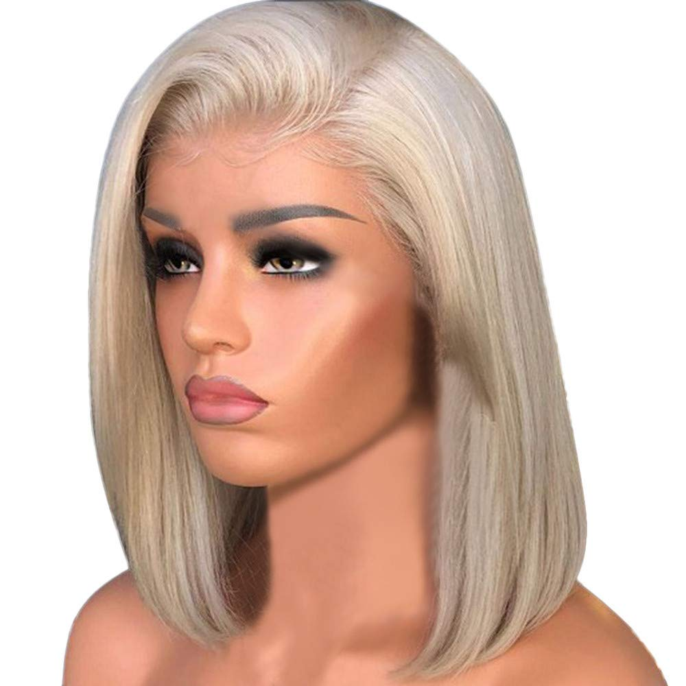 Hot Sale! Women Synthetic Blond Hair Short Straight Bob Wig with Flat Bangs Natural Looking Heat Resistant Rose Inner Net Hair Cosplay Costume Wigs (Gold, 15.7 inch)