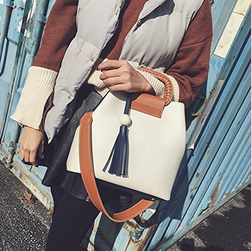 Bag Shoulder White with Handbag Leather Medium Buckets Felice Tassel Crossbody Tote Woman Bag AwznBqXHW