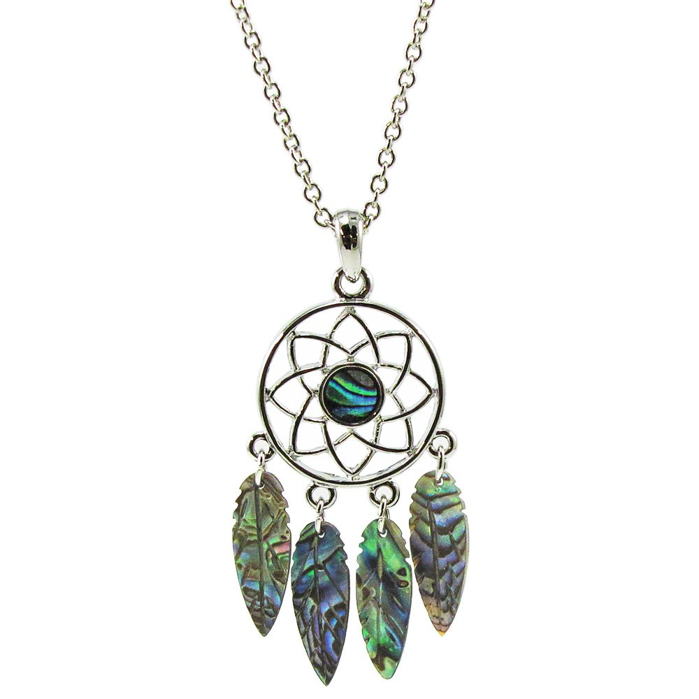 Storrs Wild Pearle Handmade Dreamcatcher Abalone Pendant Silver Plated 18 Necklace N8521521 A. T. Storrs