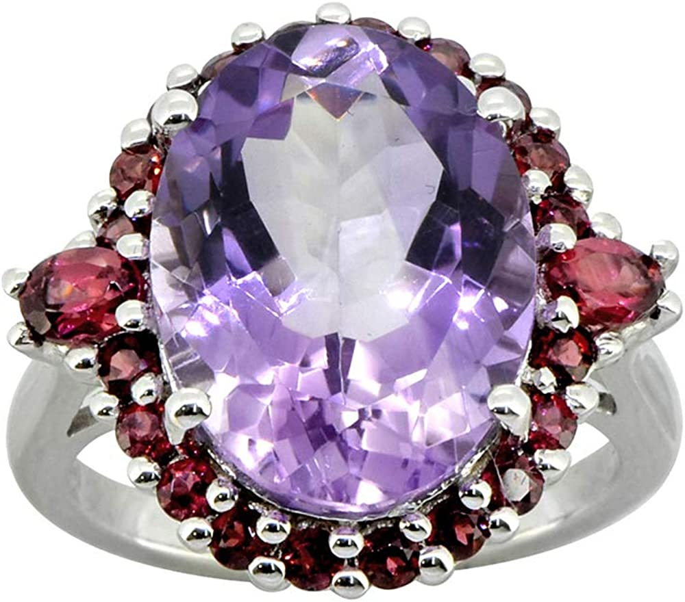 Pink Amethyst Solid 925 Sterling Silver Cluster Ring YoTreasure 9.91 Cts