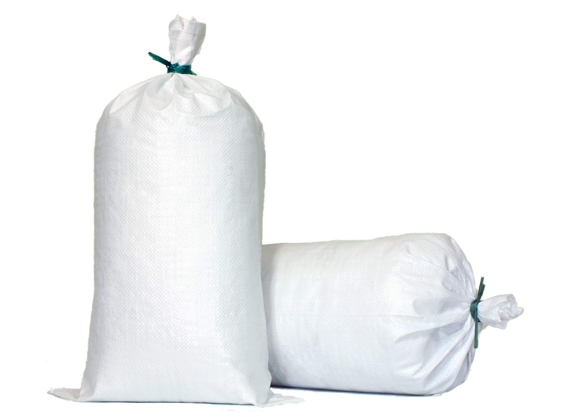 TerraRight Sandbags - Extra Durable Empty White Woven Polypropylene Sand Bags w/Ties, Max. UV Protection, 14'' x 26'' (20 Count)