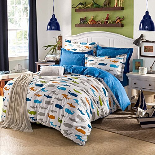 TheFit Paisley Textile Bedding for Adult U1009 Whale and Polca Dot Duvet Cover Set 100% Cotton, Queen King Set, 4 Pieces (King)