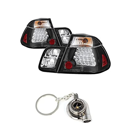 Amazon.com: BMW E46 3-Series 4Dr (does not include red fog light bulb) Tail Lights Black Housing With Clear Lens+Free Gift Key Chain Spinning Turbo Bearing: ...