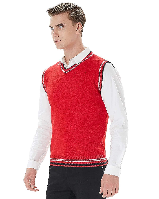 Kinlonsair Mens Casual Slim Fit Lightweight V-Neck Sweater Vest