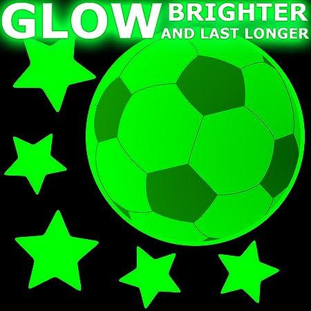 Balones de fútbol pegatinas que brillan, mediano: Amazon.es: Hogar