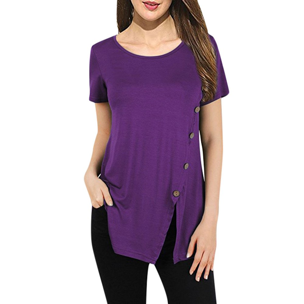 Oasisocean Womens Casual Short Sleeve Tunic Tops Round Neck A-Line T-Shirts Button Side Loose Blouses Summer Tee Purple
