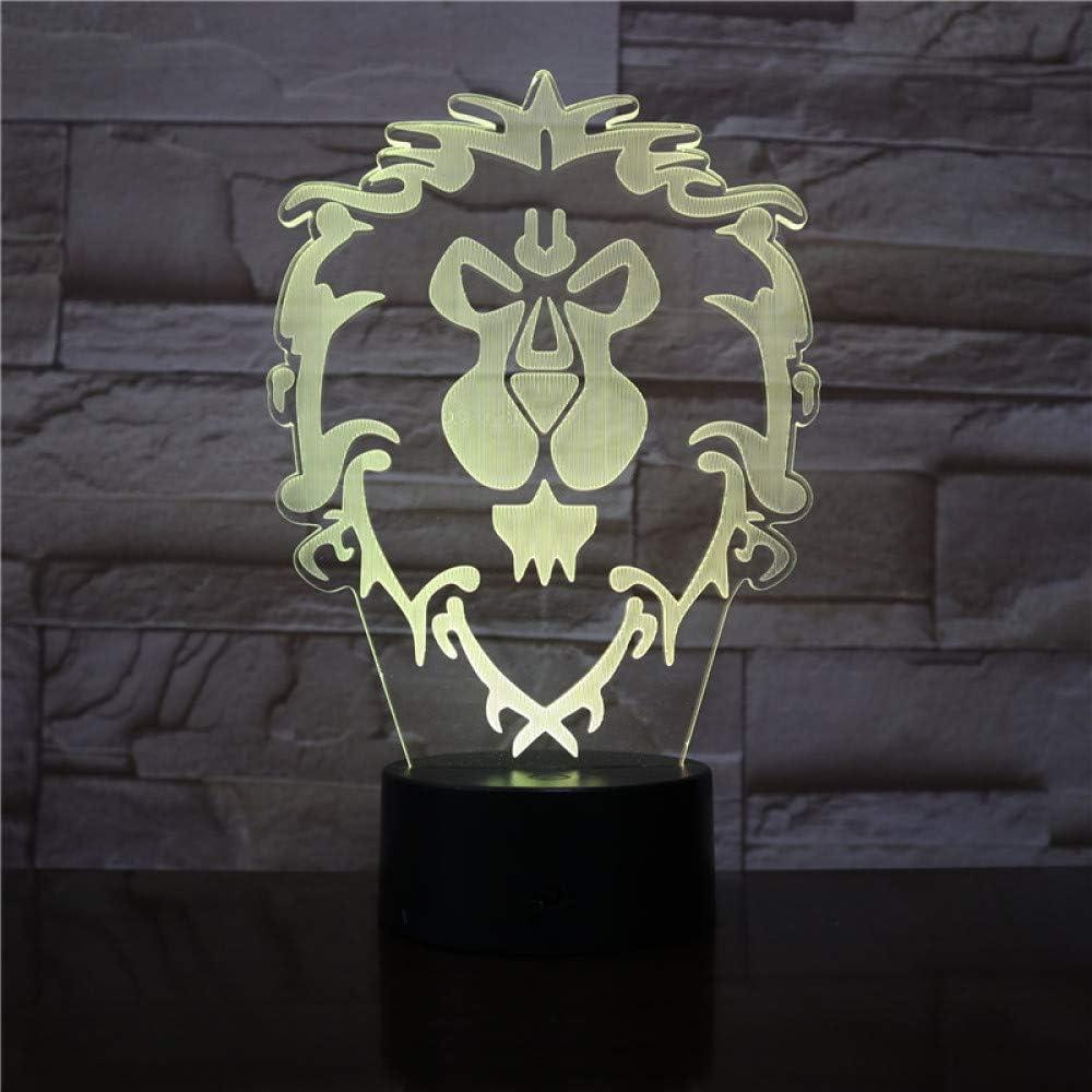 BFMBCHDJ Wow Modelo Lion 3D Illusion NightLight LED Colorido Flash ...