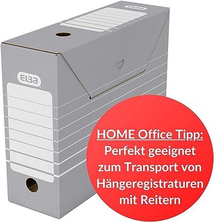 Elba 83422 - Caja de almacenamiento para archivadores (10 unidades), color gris y blanco: Amazon.es: Oficina y papelería