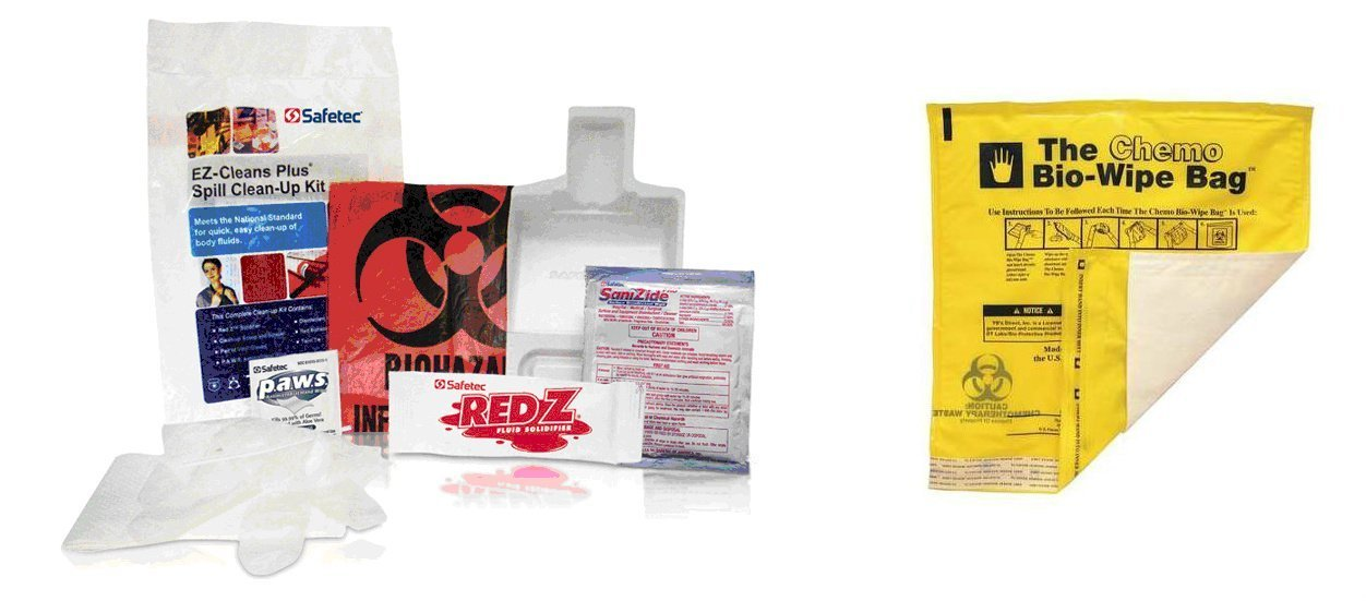 Biohazard Spill Kit with blood and fluids Bio-Wipe cleanup bag, 1 kit