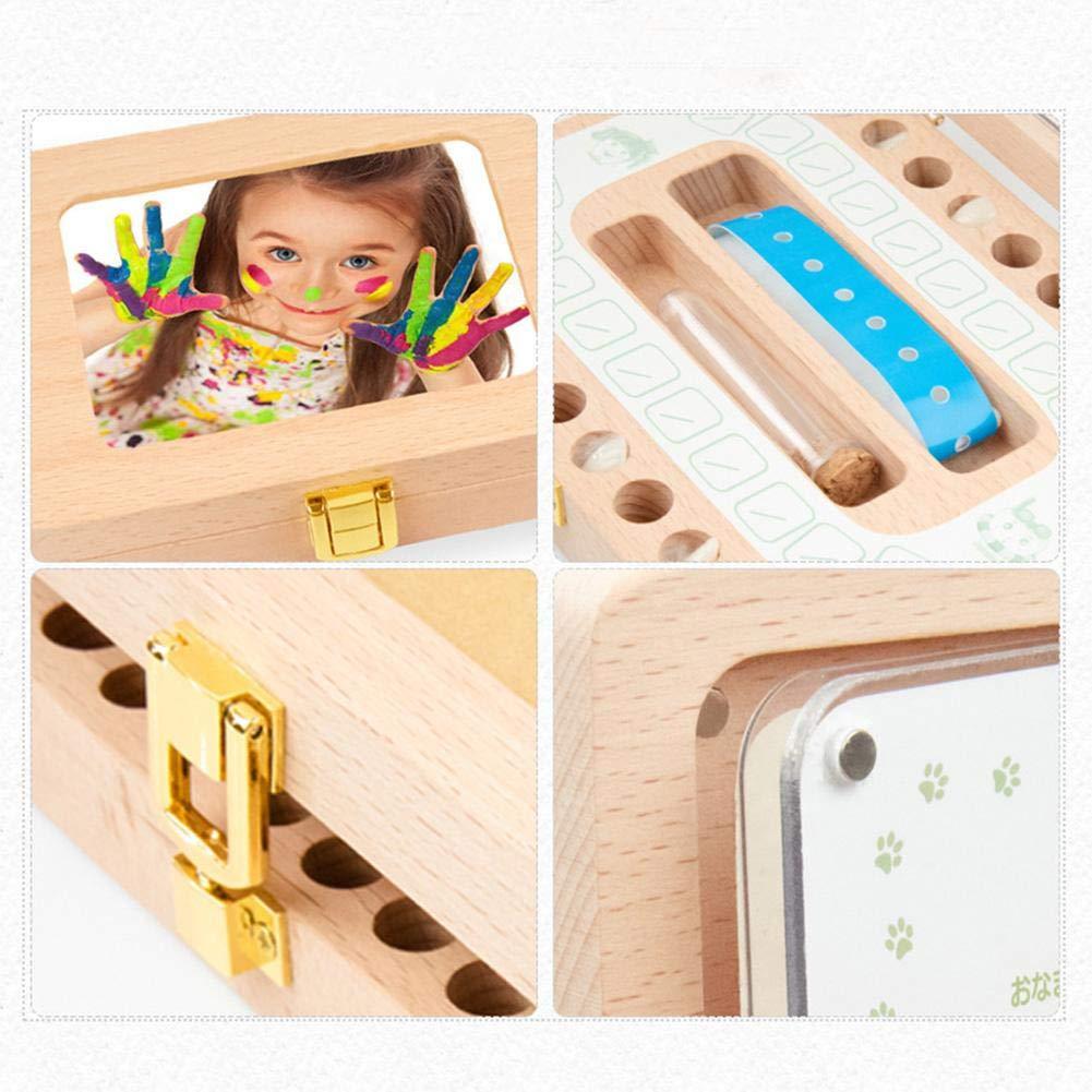 Bo/îte de f/ée des dents en bois bo/îte /à dents de b/éb/é /à feuilles caduques filles et gar/çons organisateur de stockage de souvenir de dent mignon avec cadre photo cadeau de bapt/ême pour nouveau-n/&ea