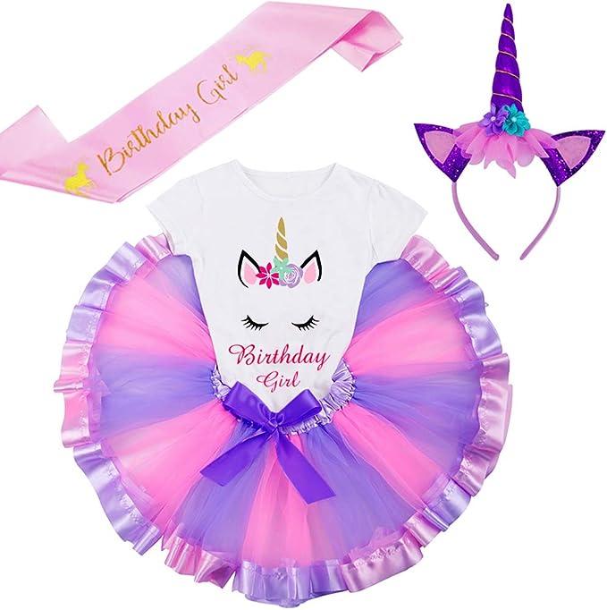 Unicorn Birthday Tshirt 3-9 Years Lavender Eight, 7-8Y Girls Layered Tutu Skirts with Unicorn Horn Headband