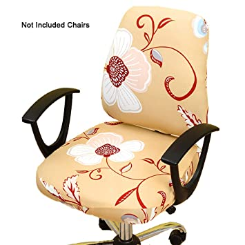 Astonishing Gikidea Removable Office Chair Cover With Floral Pattern Elasticized Dorm Computer Rotating Chair Slipcover Washable Seat And Back Cover Yellow Cjindustries Chair Design For Home Cjindustriesco