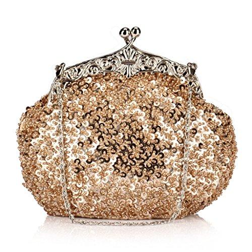 Diamant Perles Mesdames Embrayage Ergeob® Shanghai Paillettes Champagne Sac Soirée Vieux De Mariée qUwZX