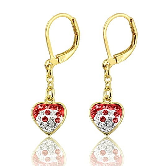 Girls Earrings Two Color Crystal Dangle Hearts- 14kt Gold Plated Lever Back Fashion Jewelry for Girls