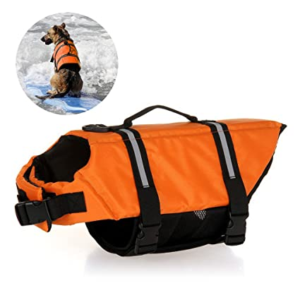 Chaquetas y Chalecos Salvavidas del Perro Jayboson Pet Dog Life Jacket with Velcro and Adjustable Buckle