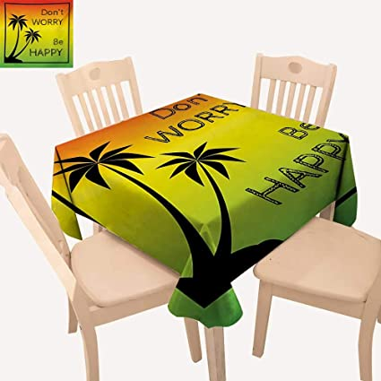 c52ffb968 Angoueleven Rasta Christmas Tablecloth Dont Worry Be Happy Music Quote of  Iconic Singer Palms Ombre Colors