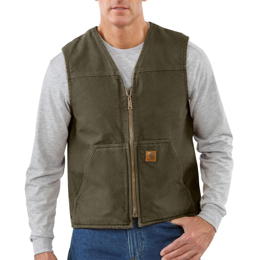Carhartt Men's Big & Tall  Sherpa Lined Sandstone Rugged Vest V26,Moss,Large Tall by Carhartt