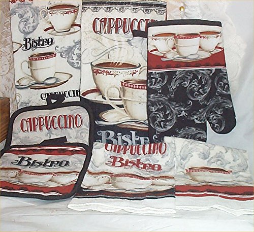 7 pc Bistro Cappuccino Kitchen Towels Hot Pads Oven Mit Dish Towels Shabby Chic (Chic Bistro)