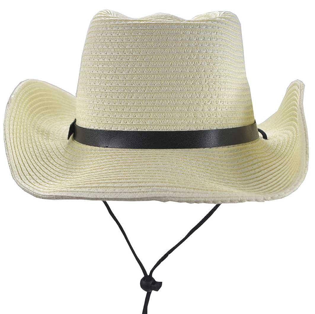 SYAYA Folding and Adjustable Straw Cowboy Hats Cowgirl Hats Sun Hat XMZ19