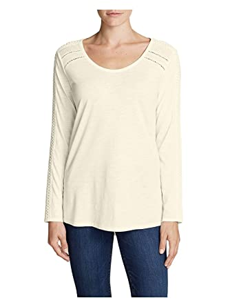1c18d622e984 Eddie Bauer Women's Willow Lace Long-Sleeve Scoop T-Shirt at Amazon Women's  Clothing store: