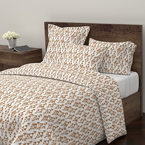 Copper Euro Comforter - Roostery Copper Duvet Cover Triangle Holli Zollinger Linen Texture Geometric Brown by Holli Zollinger 100% Cotton Queen Duvet Cover