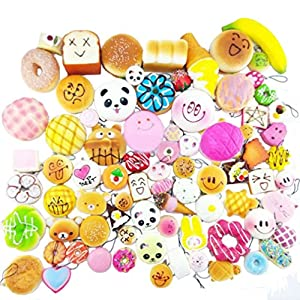 Random 20pcs Jumbo Medium Mini Soft Squishy Cake/Panda/Bread/Buns Phone Straps from Huastyle
