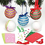 Christmas Mosaic Bauble Kits for Children to Make Decorate and Hang on Xmas Tree (Pack of 4)