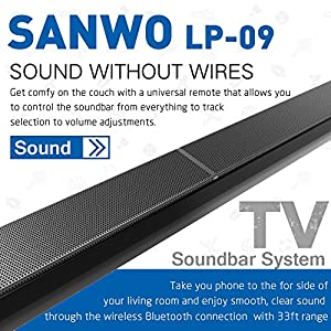 Sanwo 31.5-inch 2.0 Channel Wireless Bluetooth Sound Bar 2, TV Soundbar Speaker with 4 Drivers, Remote Controler, Wall Mountable and LED Indicator, Support wired Connections, Black