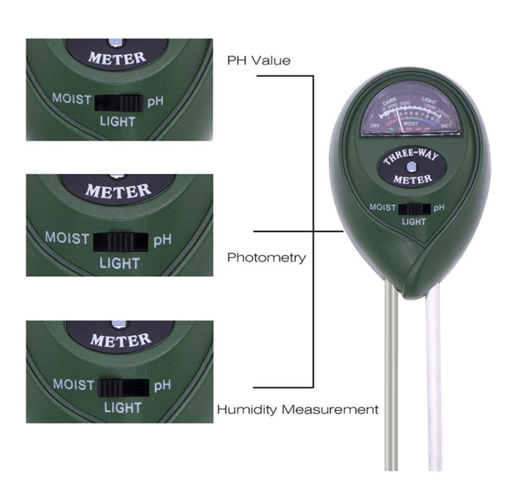 Xiton 3-en-1 de humedad del suelo del fot/ómetro y el pH del suelo de la planta del probador de acidez grande para jard/ín de la granja del c/ésped