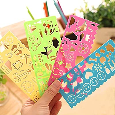 New 4 color 4 different types Stationery Children Painting Drawing Template Rulers Lovely Ruler Gift For Kids School Supplies : Baby