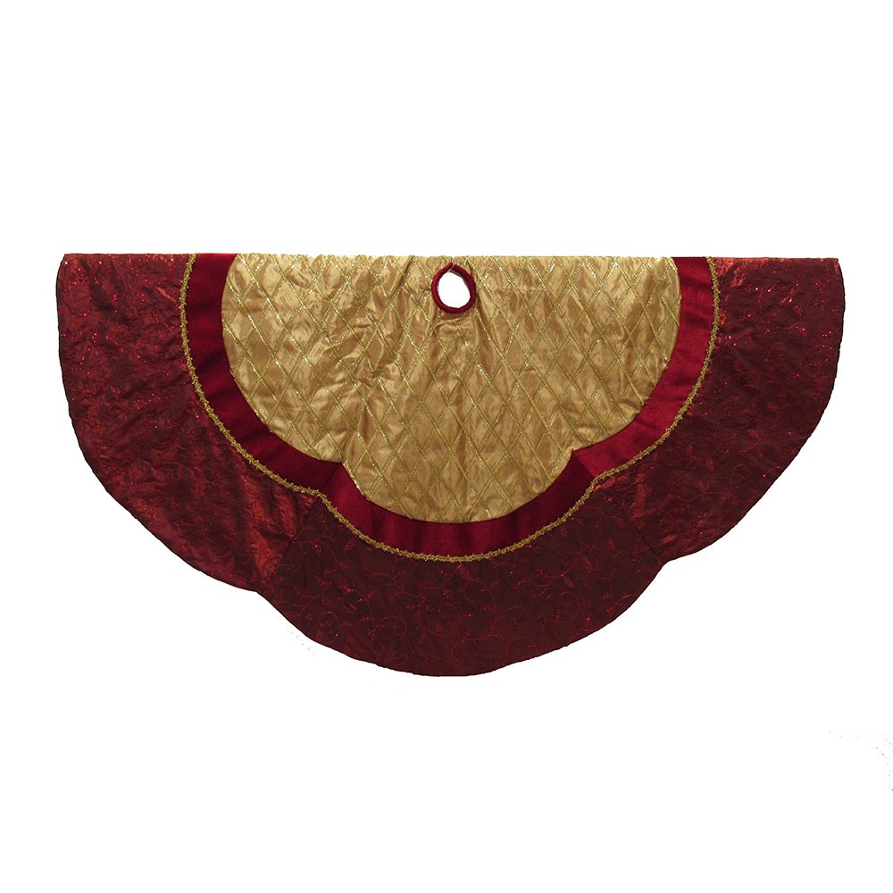 Kurt Adler 72'' Red and Gold Criss-Cross Scallop Treeskirt by Kurt Adler