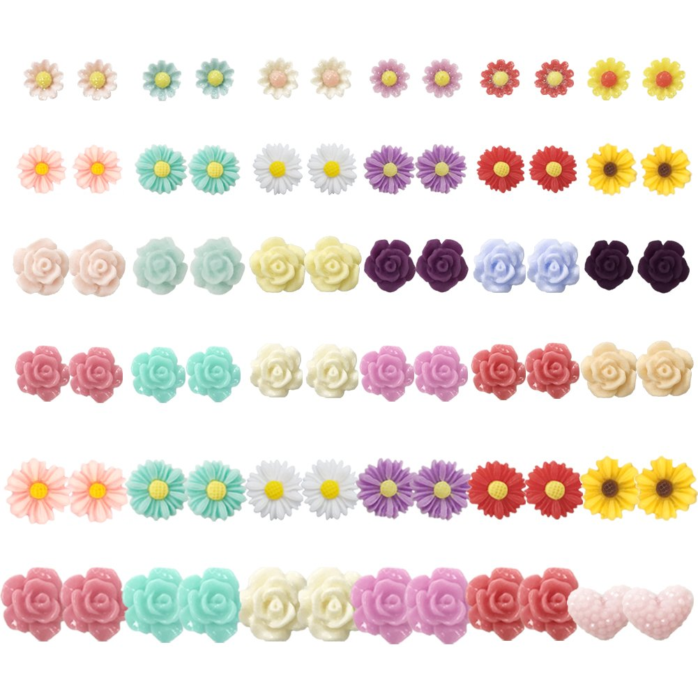 36 Pairs Mix Pearls Ball Daisy Rose Flower Assorted Earrings Studs Set, Hypoallergenic (36 Flowers)
