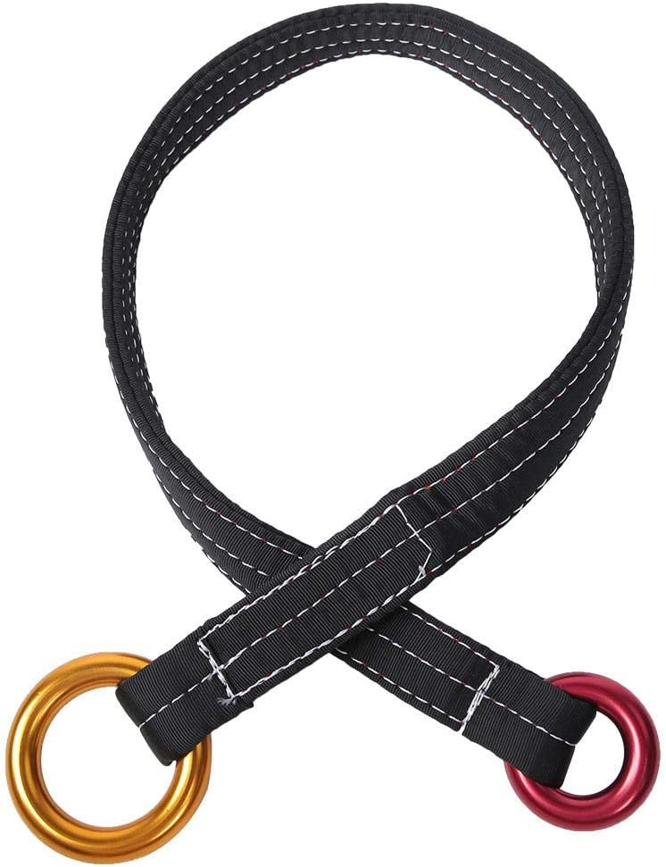Alomejor Safety Lanyard 120CM Outdoor Climbing Tree Rescue Belt with Hanging Rings Tree Climbing Safety Equipment