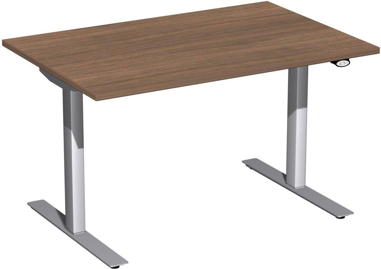 Geramöbel Elektro-Hubtisch höhenverstellbar, 1200x800x680-1160, Nussbaum/Silber