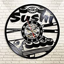 Sushi Vinyl Wall Clock 12 in(30cm) Black Decor Modern Decorative Vinyl Record Wall Clock This Clock Is A Unique Gift To Your Friends And Family For Any Occasion