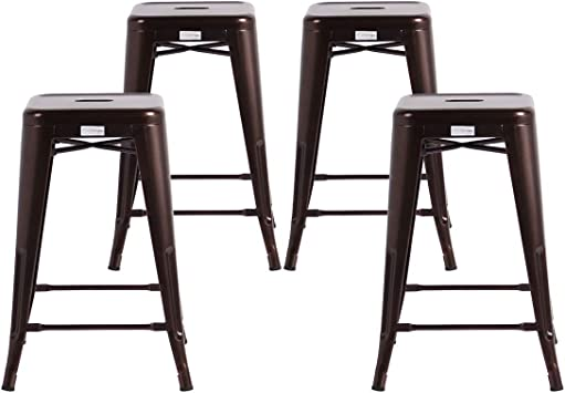 Set of 4 Stackable Home Garden Chairs Buschman Metal Bar Stools Counter Height 24 inch Indoor /& Outdoor Vintage Industrial Dining Chairs for Bars Matte Red Bistros /& Cafes
