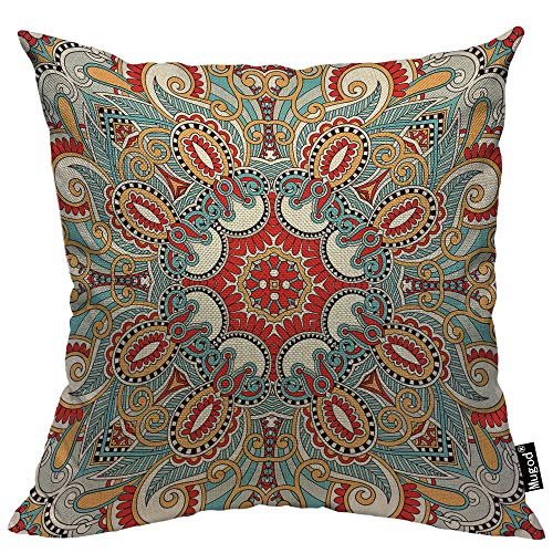 Pillowcase Paisley Cotton (Mugod Paisley Flower Throw Pillow Traditional Ethnic Floral Red Teal White Black Yellow Cotton Linen Square Cushion Cover Standard Pillowcase 18x18 Inch for Home Decorative Bedroom/Living Room/Car)