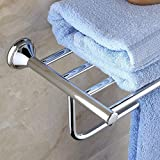 CWJ Shelf-Bathroom Towel Rack Suckers/Brass Towel Rack-Free Punching/Towel Bar/Double Sanitary Towels-A