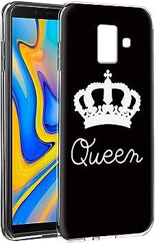 Yoedge Funda Samsung Galaxy J6 Plus Silicona Ultra Slim Cárcasa con King Queen Diseño Patrón Bumper Case Cover Fundas para Samsung Galaxy J6 Plus Smartphone (Queen, Negro-Blanco): Amazon.es: Electrónica